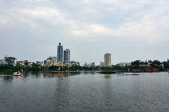 Skyline of Hanoi at Truc Bach Lake. The capital of Vietnam stock photos