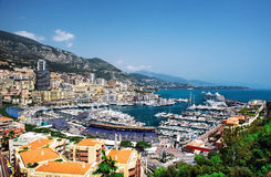 Cityscape and harbor of Monte Carlo Stock Photography