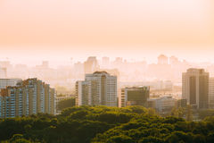 Cityscape in haze of Minsk, Belarus. Summer season Stock Images