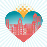 Cityscape in heart. With burst, halftone sun, and heart Royalty Free Stock Image