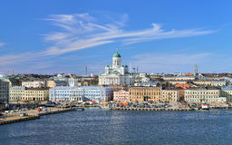Cityscape of Helsinki with Cathedral, South Harbor and Market Square, Finland Royalty Free Stock Images