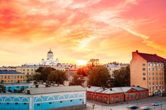 Cityscape And Helsinki Cathedral At Sunset With Dramatic Sky, Finland Royalty Free Stock Photo