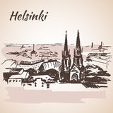 Cityscape of Helsinki - Finland. Sketch Stock Photo