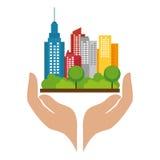 cityscape het pictogram van de gebouwenhorizon vector illustratie