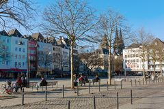 Cityscape at the Heumarkt in Cologne, Germany. Cologne, Germany - February 24, 2018: Heumarkt in Cologne, with unidentified people. Heumarkt is the second Royalty Free Stock Photos