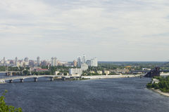Cityscape from the high right bank of the Dnieper. Cityscape from the high right bank of the Dnieper in windy morning June 28, 2015 royalty free stock photo
