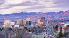 Cityscape with hills and cars Stock Photography