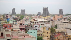 Cityscape with Hindu temples stock footage