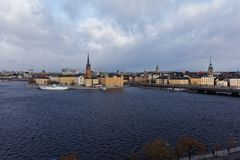 Cityscape of the historic center of Stockholm, Sweden. View to Riddarholmen and Gamla Stan in Stockholm, Sweden in an autumn day Royalty Free Stock Photography