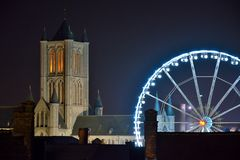 Cityscape of the historic city of Ghent and Roue de paris ferry wheel in Ghent, Christmas Stock Image