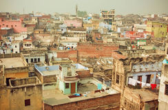Cityscape of historical indian city with brick buildings in bad condition Royalty Free Stock Image