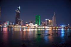 Cityscape of Ho Chi Minh at night Royalty Free Stock Photo