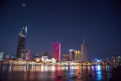 Cityscape of Ho Chi Minh at night Stock Images