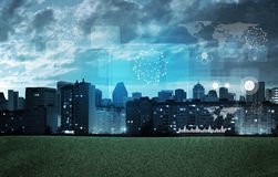 Cityscape with holographic screen Royalty Free Stock Image