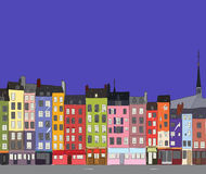 Cityscape Honfleur, vector illustration. Bright colorful city houses of Honfleur at night. Hand-drawn sketch. Flat design Stock Image
