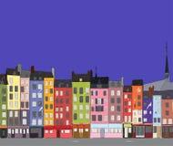 Cityscape Honfleur, vectorillustratie Stock Afbeelding