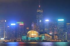 Cityscape Hong Kong för Victoria hamnnatt Royaltyfria Bilder