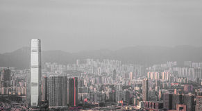 Cityscape of Hong Kong in monochrome Stock Photo