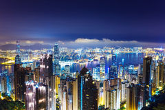 Cityscape in Hong Kong from The peak Royalty Free Stock Image
