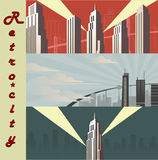 Cityscape horizontal  Cartoon city in different color variations. Royalty Free Stock Photography