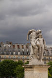 Cityscape of house building Paris style with sculpture, France Stock Photos
