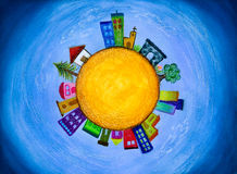 Cityscape houses in a little planet painting Royalty Free Stock Images