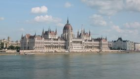 Cityscape with Hungarian Parliament Building in Budapest, view from river, neo-gothic and beaux-arts