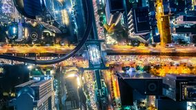 Cityscape Hyperlapse timelapse at night bangkok, Busy traffic across main road at rush hour. Beautiful atmosphere and excellent architecture stock footage