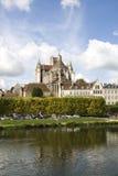 Cityscape i Auxerre, Frankrike Arkivbild