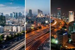 Cityscape i dagen/aftonen/natten Royaltyfri Bild