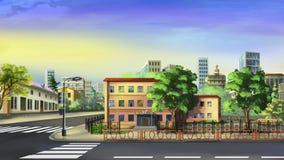 Cityscape i en sommarmorgon Royaltyfri Bild