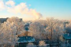 Cityscape i snöig dag fotografering för bildbyråer