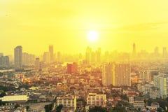 Cityscape i soluppgång, Bangkok Thailand arkivbild