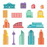Cityscape icon set of buildings.  Royalty Free Stock Photography