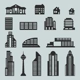 Cityscape icon set of buildings.  Royalty Free Stock Photo