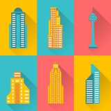 Cityscape icon set of buildings.  stock illustration