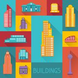 Cityscape illustration with buildings in flat Royalty Free Stock Photos