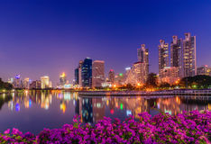 Cityscape image of Benchakitti Park at twilight time in Bangkok Royalty Free Stock Images