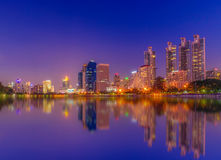 Cityscape image of Benchakitti Park at twilight time in Bangkok, Royalty Free Stock Photo