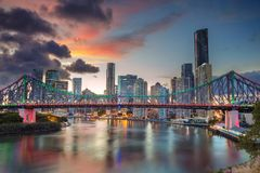 City of Brisbane. Cityscape image of Brisbane skyline, Australia with Story Bridge during dramatic sunset stock photos