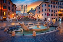 City of Rome. Cityscape image of Spanish Steps in Rome, Italy during sunrise royalty free stock photos