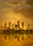 Cityscape In Sunset Royalty Free Stock Photo