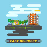 Cityscape, informs fast delivery service. Royalty Free Stock Photography