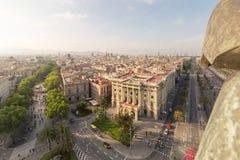 Cityscape inklusive la rambla i Barcelona, Spanien Royaltyfri Fotografi