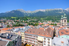 Cityscape of Innsbruck in Austria. Innsbruck is the capital city of Tyrol in western Austria, located in the Inn Valley. It is an internationally renowned winter stock photos