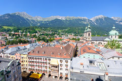 Cityscape of Innsbruck in Austria. Innsbruck is the capital city of Tyrol in western Austria, located in the Inn Valley. It is an internationally renowned winter stock photography