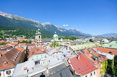 Cityscape of Innsbruck in Austria. Innsbruck is the capital city of Tyrol in western Austria, located in the Inn Valley. It is an internationally renowned winter stock image