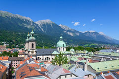 Cityscape of Innsbruck in Austria. Innsbruck is the capital city of Tyrol in western Austria, located in the Inn Valley. It is an internationally renowned winter stock photo