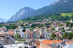Cityscape of Innsbruck in Austria. Innsbruck is the capital city of Tyrol in western Austria, located in the Inn Valley. It is an internationally renowned winter royalty free stock images