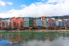 Cityscape of Innsbruck, Austria. Cityscape of Innsbruck and Inn river, Austria royalty free stock photos